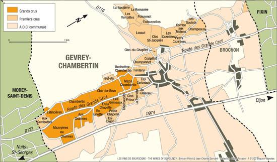ジュヴレ・シャンベルタンの地図