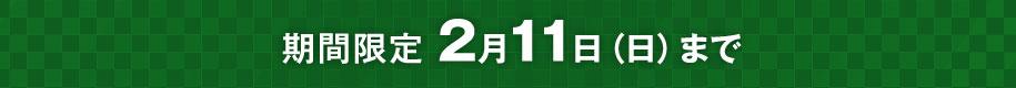 期間限定 2/11(日)まで!