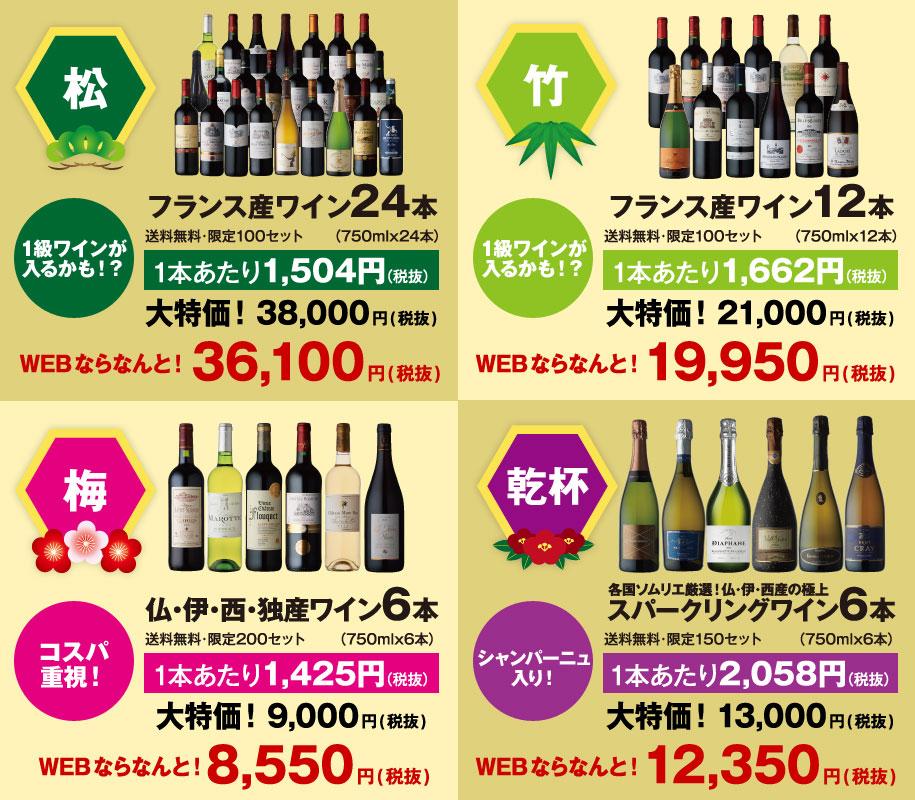 福袋の紹介【松、竹、梅、乾杯】